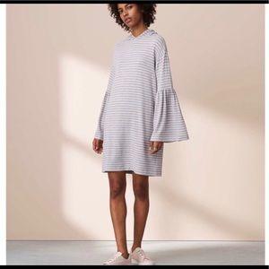 Lou & Grey Striped Bell Sleeve Hoodie Dress Sz S